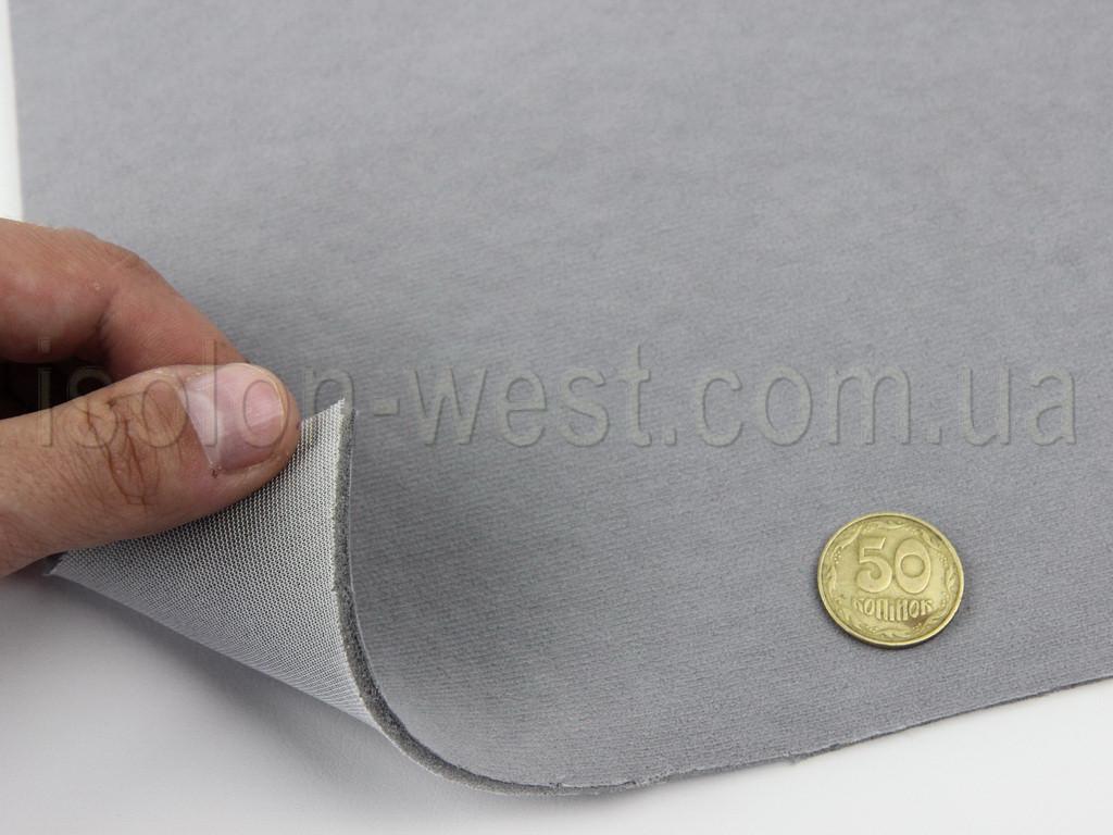 Ткань потолочная авто велюр (дымчатый серый) Micro 16633, на поролоне 3 мм с сеткой шир. 1.70м (Турция)