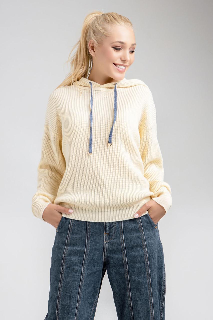 Молодежный джемпер-худи цвета экри. Модель 2017. Размеры 42-52