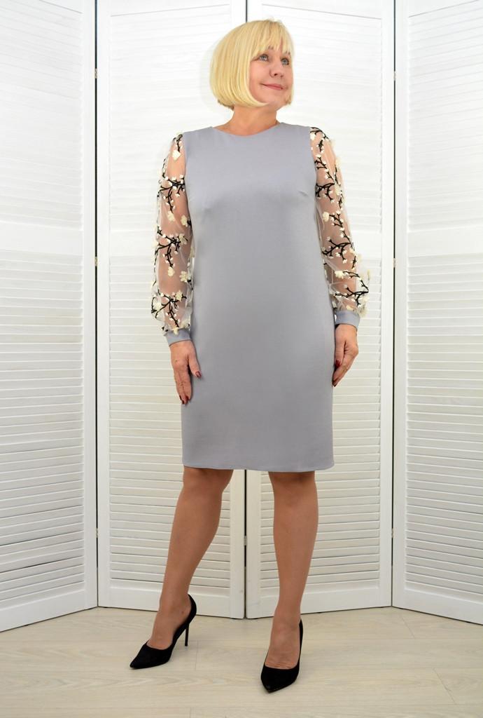 Платье светло серое рукава сетка - Модель 3.205