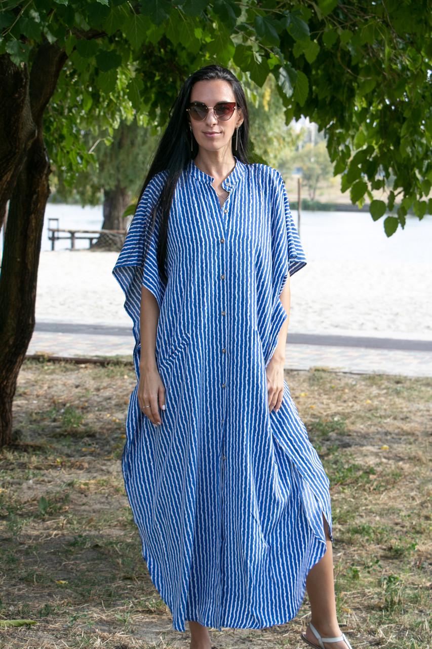 Туника-платье синее в белую полоску oversize - 405-48