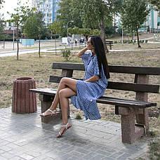 Туника-платье синее в белую полоску oversize - 405-48, фото 2