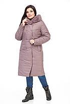 Стьобана зимове жіноче пальто з хутром плащівка шоколадного кольору від 48 до 62 великі розміри, фото 3