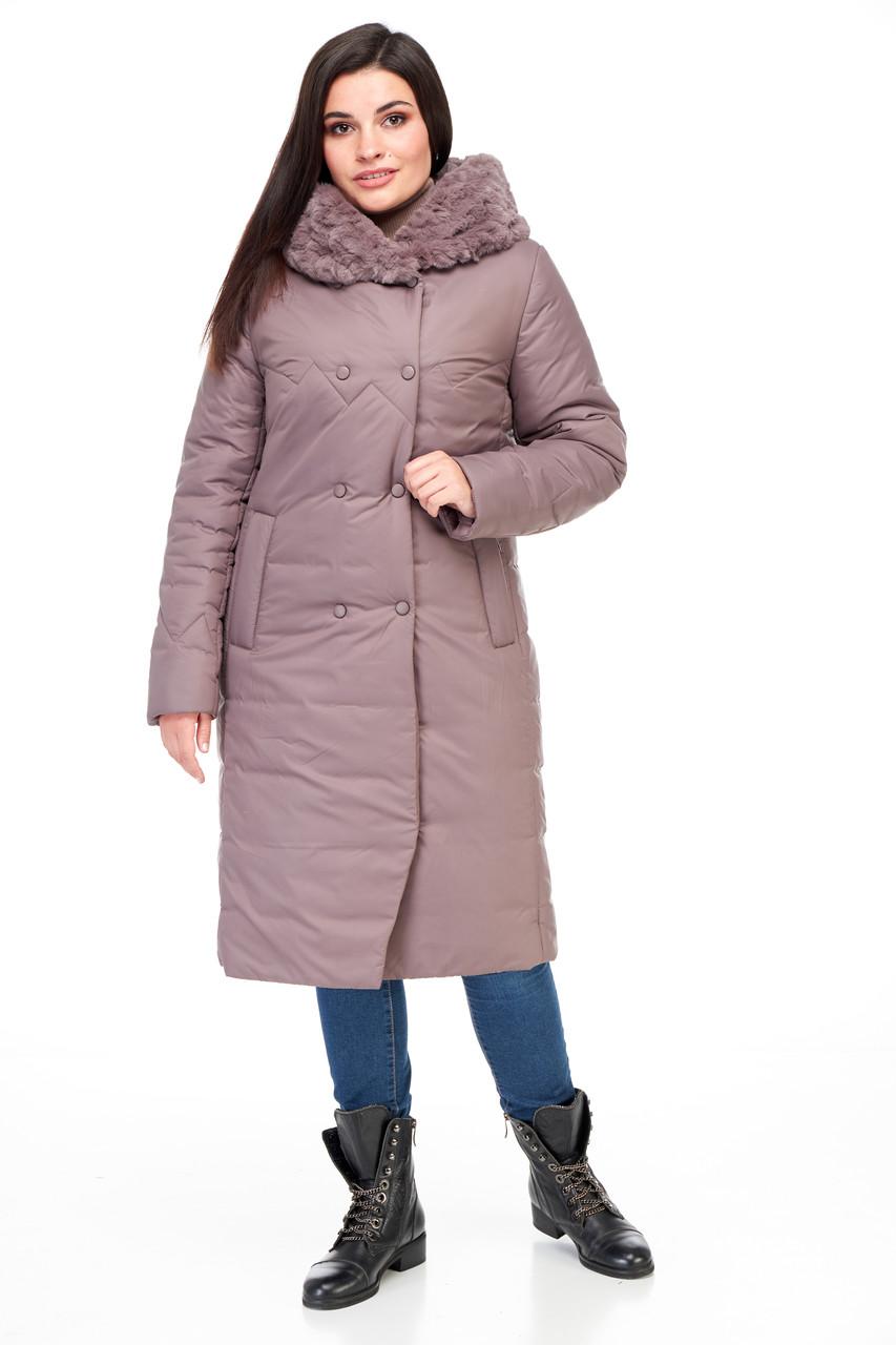 Стьобана зимове жіноче пальто з хутром плащівка шоколадного кольору від 48 до 62 великі розміри
