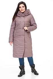 Стеганое зимнее женское пальто с мехом плащевка шоколадного цвета от 48 до 62 большие размеры
