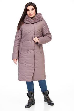 Стьобана зимове жіноче пальто з хутром плащівка шоколадного кольору від 48 до 62 великі розміри, фото 2