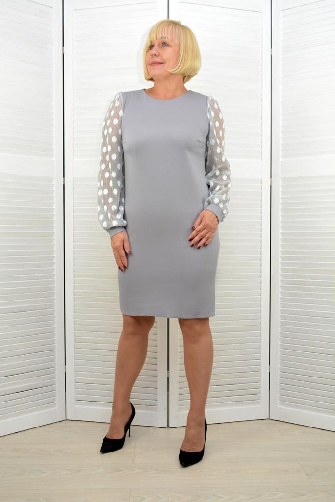 Платье серебро рукава люрекс - Модель 3.205.1