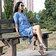 Туника-платье синее в белую полоску oversize - 405-48, фото 5