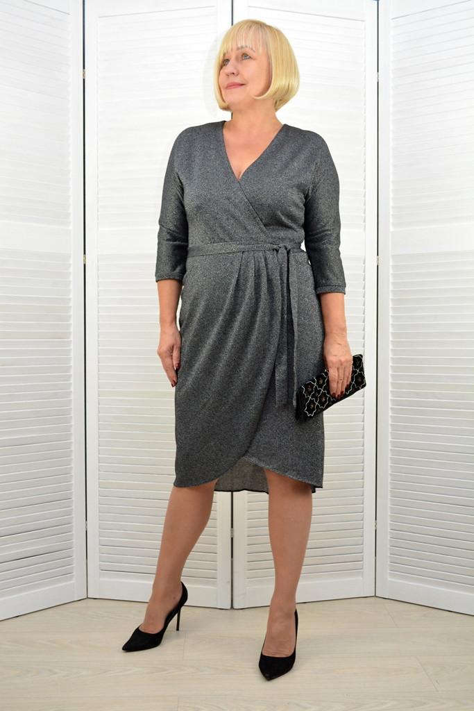 Платье темно-серое люрекс - Модель 3.201