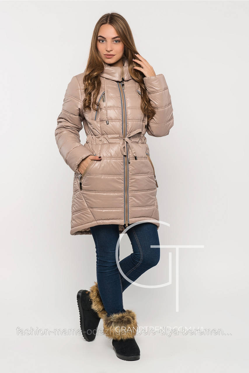 Женская зимняя куртка на тинсулейте Бежевая р.44  -            Интернет-магазин «Fashion-Mama» в Днепре