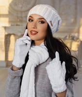"Комплект шапка, шарф и перчатки ""Андорра"". Шарф, Женский, Зима, Украина, белый"