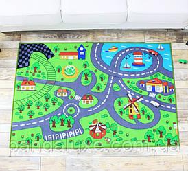 Килим для дитячої кімнати на гумовій основі Зелене містечко 200 х 150 см