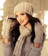"""Комплект шапка, шарф и перчатки """"Андорра"""". Шарф, Женский, Зима, Украина, светлый кофе"""