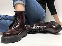 Ботинки женские бордовые кожаные на платформе Dr.Martens JADON Доктор Мартинс Жадон