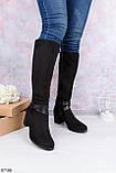 Женские черные сапоги ДЕМИ на каблуке 6 см с ремешком эко- замш, фото 2