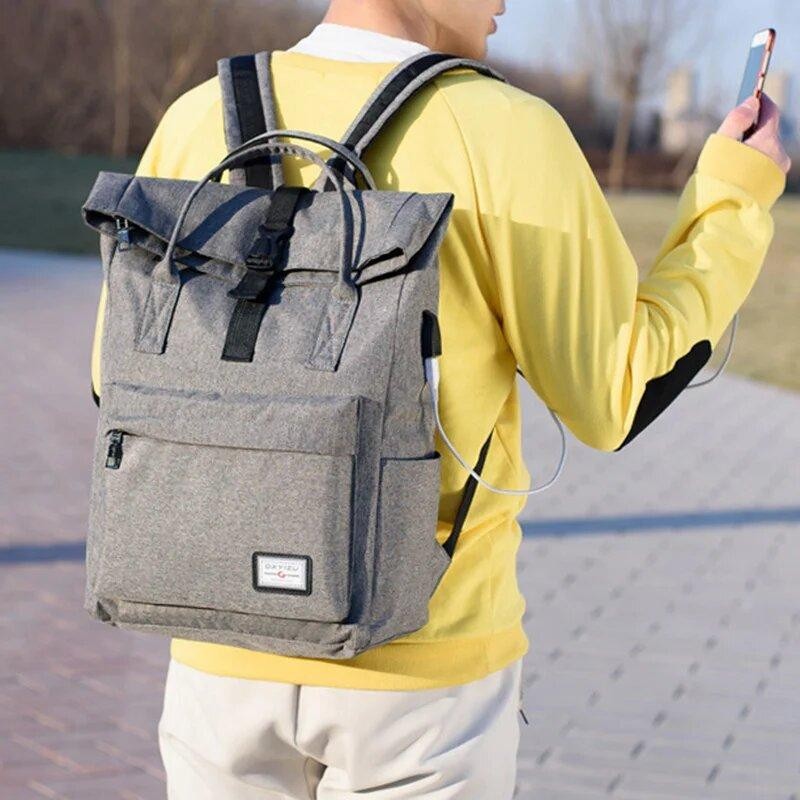 Рюкзак-сумка с USB зарядкой DXYIZU (серый)