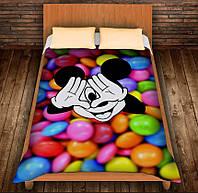 Плед с 3D принтом-Микки Маус и конфеты, фото 1
