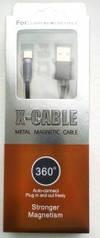 Магнитный кабель для зарядки телефона USB - Type-C 1м черный X-Cable Magnetic-360
