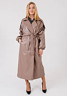 Стильное и модное женское тренч - пальто кожаное с классическим английским воротником темно-бежевое
