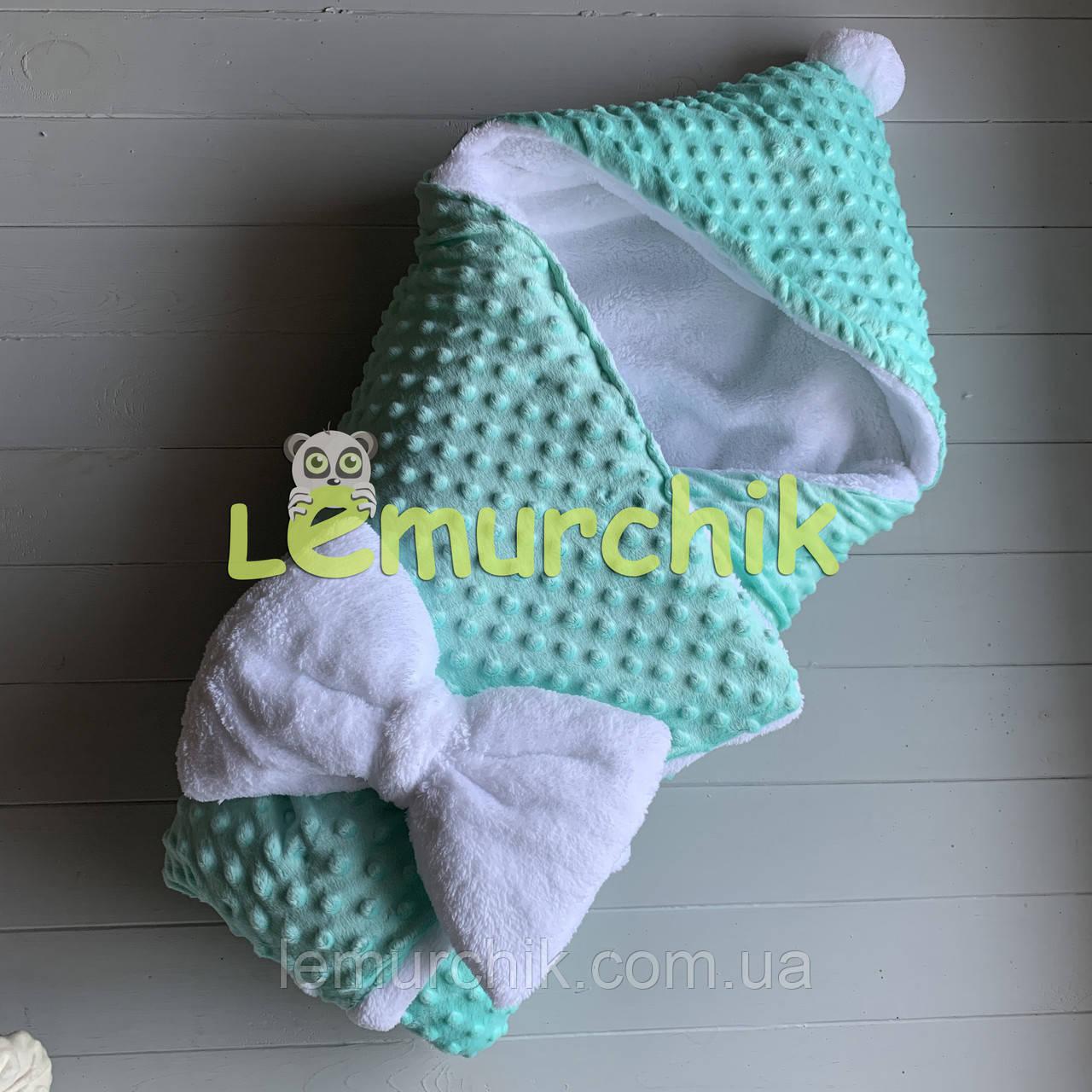 Конверт-одеяло минки на махре с капюшоном и бубончиком, мятный