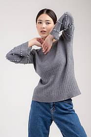 Приятная кофта с жемчугом свободного кроя в 4 цветах в размере S/Mи L/XL серый, L/XL
