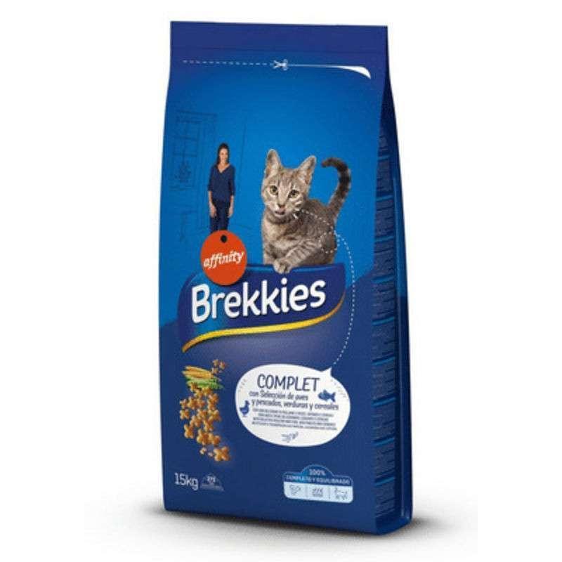 Сухой корм с мясом, рыбой и овощами для взрослых кошек Brekkies (Брекис) Cat Complet / 15 кг