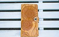 Кожаный кошелёк вестерн XL, Подсолнухи, желтый., фото 1