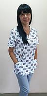 Жіночий медичний костюм Шарм Принт короткий рукав бавовна