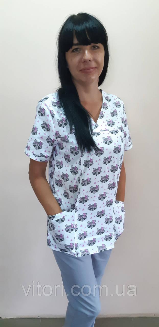 Женский медицинский костюм Шарм Принт короткий рукав хлопок