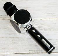 Блютуз микрофон караоке с динамиком YS-63 черный-серебристый, беспроводной детский микрофон с флешкой, фото 1