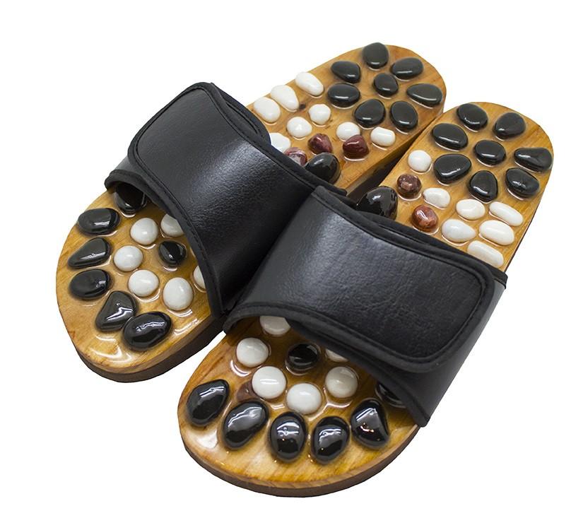 Массажные тапочки Stone Steps Casada для массажа стоп, рефлексотерапии ступней Черный