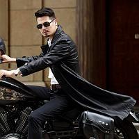Мужское кожаное пальто, мотоциклетная куртка, плащ