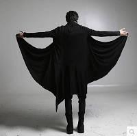Осенняя темная мужская ветровка до колен, темный плащ , пальто, куртка волшебника,