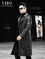 Кожаная ветровка мужская с удлиненной секцией поверх колена, чистая телячья кожа, мягкое кожаное пальто Haining, тонкая красивая куртка