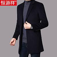 Hengyuanxiang шерстяное пальто мужское средней длины осень и зима толстая теплая ветровка мужское корейское пальто шерстяное шерстяное прилив
