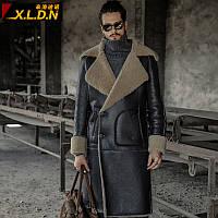 [Сломанный код разрешения] Мужская длинная оригинальная кожаная куртка из экологического меха, мужская меховая куртка, кожаная зимняя куртка, мужская