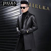 Новая кожаная куртка мужская Haining из овчины средней длины ветровка Тонкий кожаный пуховик мужской костюм куртка с воротником
