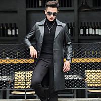 Осенняя кожаная куртка мужская длинная кожаная ветровка куртка из овчины кожаная куртка мужская дубленка до колен куртка