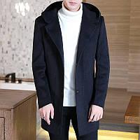 Осенне-зимнее шерстяное пальто средней длины плюс бархатное толстое шерстяное пальто с капюшоном для мужчин плюс толстое шерстяное пальто больших