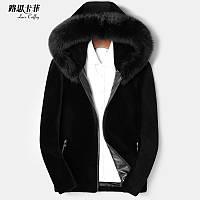Новое мужское короткое кожаное пальто из овечьей шерсти с капюшоном Haining с капюшоном из лисьего меха с воротником из овчины цельнокроеное