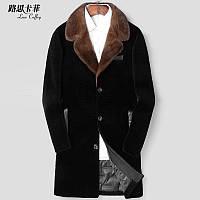 Мужская стрижка овец Haining, пуховая подкладка, шуба из норки, костюм с воротником, пальто с мехом средней длины