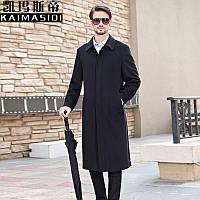 Новинка 2020 года, осенне-зимнее мужское длинное шерстяное пальто, мужское шерстяное пальто выше колена с лацканами, шерстяное пальто