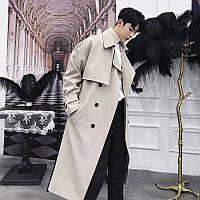 Осенне-зимняя мужская ветровка средней длины, тренд в корейском стиле, свободное выше колена, студенческое британское пальто, толстое японское пальто