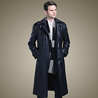 Осенне-зимняя деловая повседневная утолщенная длинная кожаная куртка больших размеров, мужская кожаная ветровка, приталенная куртка из замшевой кожи