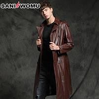 Sani осенне-зимняя оригинальная экологическая кожаная куртка из козьей кожи, мужская длинная кожаная ветровка, тонкая куртка, плотное теплое пальто