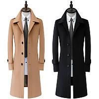 Мужское осенне-зимнее однобортное длинное шерстяное пальто в британском стиле из кашемира