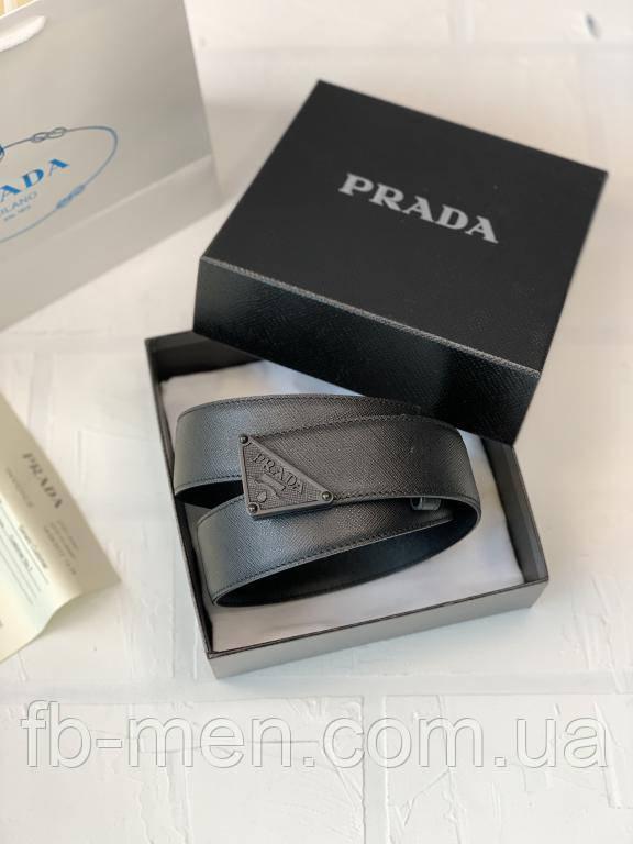 """Ремень Prada черный треугольный логотип """"Prada"""" Мужской пояс ремень Парада черный кожаный"""