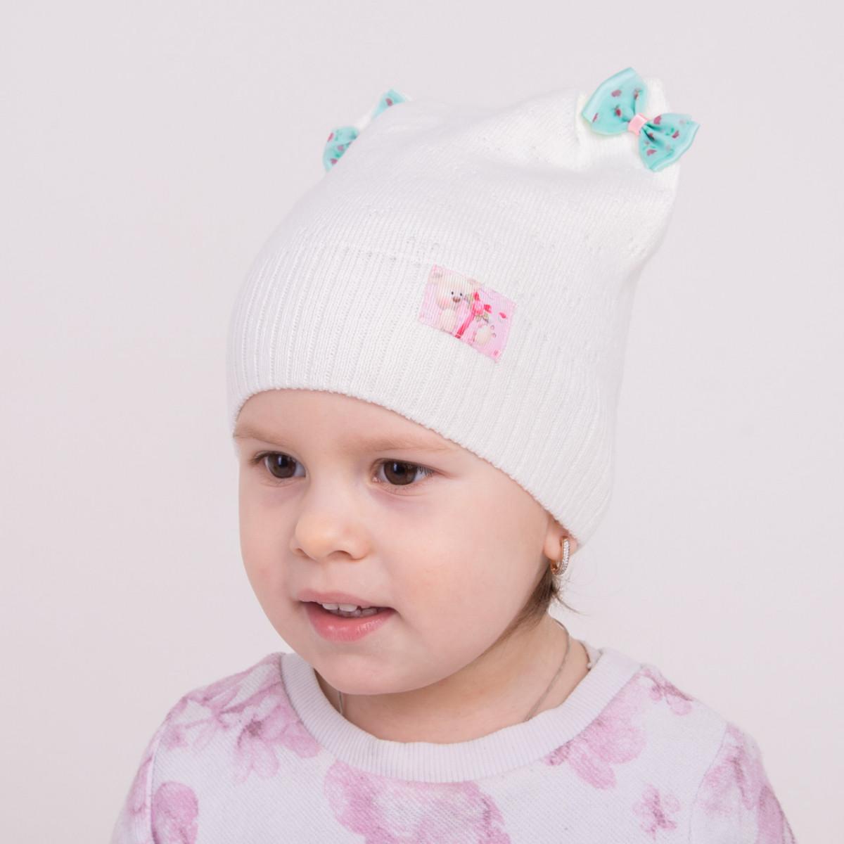 Вязаная шапка для девочки с ушками на весну - Артикул 0970