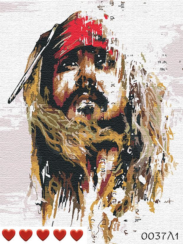 Картина по номерам Капитан Джек Воробей, цветной холст + лак, 40*50 см, без коробки Barvi