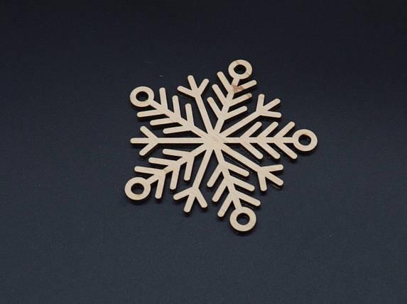 Деревянная новогодняя заготовка из фанеры.Снежинка 9см, фото 2