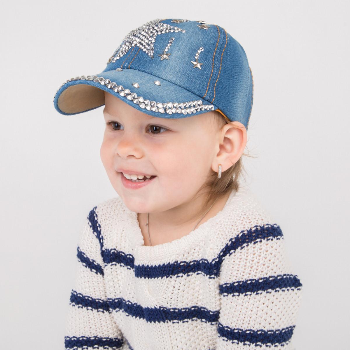 Модная джинсовая кепка для девочек оптом - 32018-22